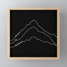 Tallest Mountains in the World / Mt Everest K2 Kanchenjunga / B&W Minimalist Line Drawing Art Print Framed Mini Art Print