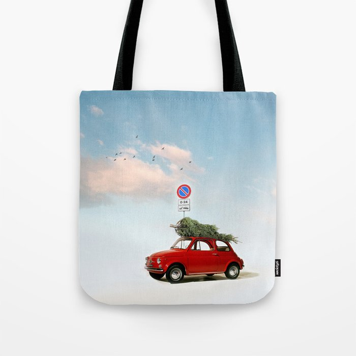 fiat 500 for christmas tote bag