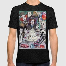 TIM BURTON TEA PARTY Tri-Black LARGE Mens Fitted Tee