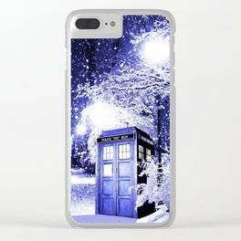 The Winter Tardis Clear iPhone Case