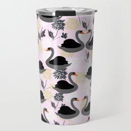Cute Swan on Pink Background Travel Mug