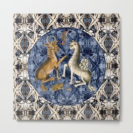 Tudor Pattern Book Goat and Camel Metal Print