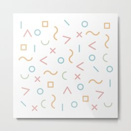 Geometric Minimalist Bold Memphis Style Pattern Pastel Color Metal Print