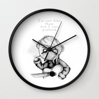 kurt cobain Wall Clocks featuring Kurt Plush by Ludwig Van Bacon