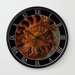 Earth treasures - brown and orange fossil Wall Clock
