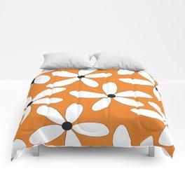 Happy Flowers Orange Comforters