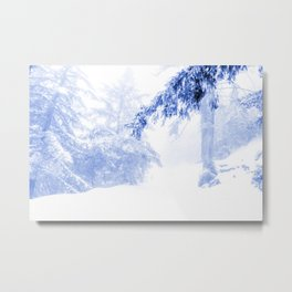 Icy forest in inky blue Metal Print