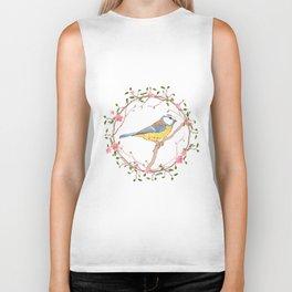 Bird and flowers Biker Tank