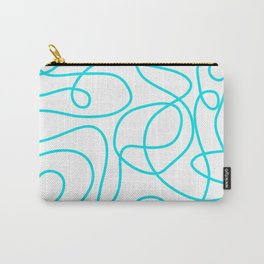 Doodle Line Art   Bright Blue/Turquoise Lines on White Background Carry-All Pouch