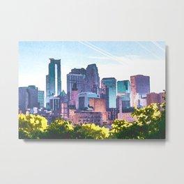 Minneapolis Minnesota Skyline Painted Style Metal Print