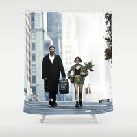 leon Shower Curtains featuring LEON, THE PROFESSIONAL by VAGABOND