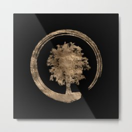 Enso Zen Circle and Tree - Gold on black Metal Print