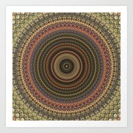 Vintage Bohemian Mandala Textured Design Art Print