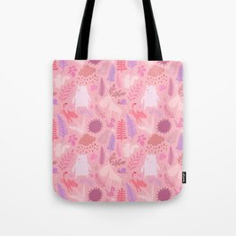 PNW Forest in Peony Pink Tote Bag