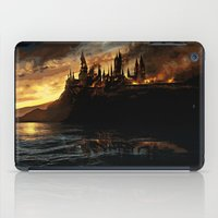 harry potter iPad Cases featuring Harry Potter - Hogwart's Burning by Juniper Vinetree