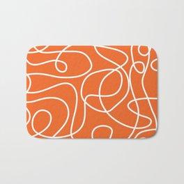 Doodle Line Art | White Lines on Persimmon Orange Bath Mat