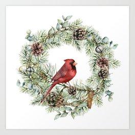 Cardinal Christmas Wreath, Floral Prints Art Print