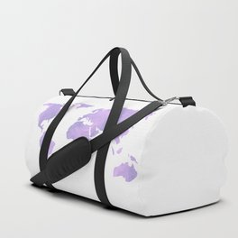 World Map - Ultra Violet Purple Watercolor on White Duffle Bag