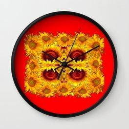 MODERN RED ART &  YELLOW  SUNFLOWERS DESIGN Wall Clock