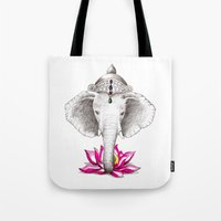ganesh Tote Bags featuring Ganesh by Tammy Liu-Haller