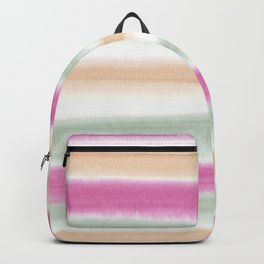 Watercolor Stripe Pink, Green, Peach Backpack
