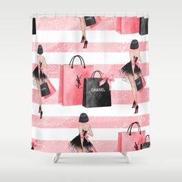 Fashion girl shopping Shower Curtain