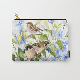 Sparrows and Chicory Flowers Carry-All Pouch