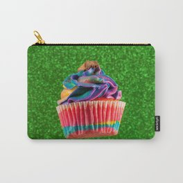 Cupcake Love | Rainbow Peanut Butter Cup on Green Sparkle Carry-All Pouch