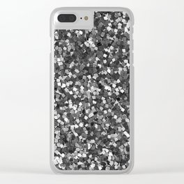 Dazzling Sparkles (Black and White) Clear iPhone Case