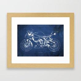 Yamaha 2015 BLUE, Original blueprint, blue background, vintage art print, gift for biker Framed Art Print