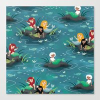 mermaids Canvas Prints featuring Mermaids by Miss Fortune