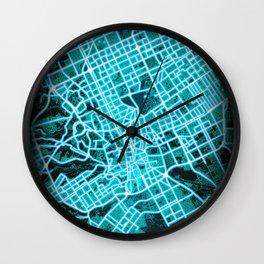Riyadh, Saudi Arabia, Blue, White, Neon, Glow, City, Map Wall Clock