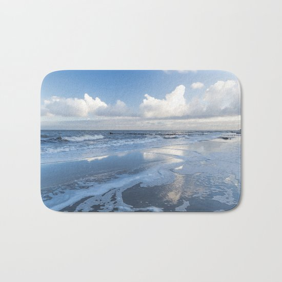 Cold day at the beach - Ocean blue on #Society6 Bath Mat