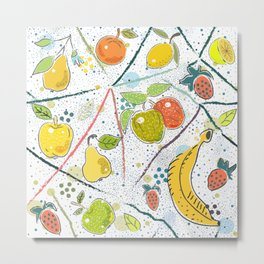 Seamless Pattern with Pears and Apples. Scandinavian Style. Metal Print