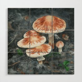 Family of mushrooms by Teresa Thompson Wood Wall Art