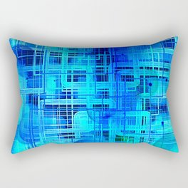 Vibrant Blue and Turquoise Line Abstract Rectangular Pillow