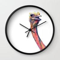 ostrich Wall Clocks featuring ostrich by dareba