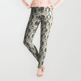 Black Alien Abduction Toile De Jouy Pattern Leggings