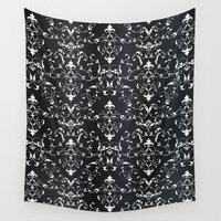 gray pattern Wall Tapestries featuring Gray pattern 261015 by Veronika