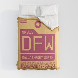 Baggage Tag C - DFW Dallas Fort Worth USA Comforters