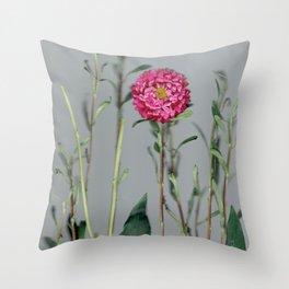 Pink Dahlia Botanical Throw Pillow