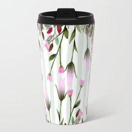 Modern lavender purple pastel green floral stripes Travel Mug