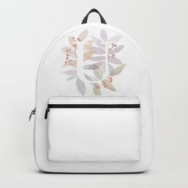 Rustic Watercolor Monogram - Letter U Initial - Colorful Leaves Backpack