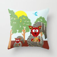 kangaroo Throw Pillows featuring Kangaroo by Design4u Studio
