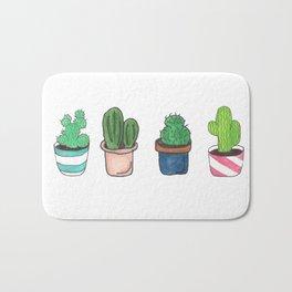 1 Cactus, 2 Cacti, 3 Cacti Four- Watercolor Design Bath Mat