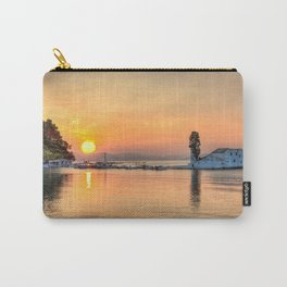 The sunrise in Panagia Vlacherna island at Corfu, Greece Carry-All Pouch