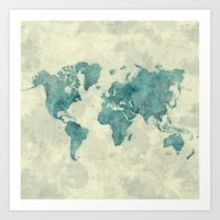 vintage map Art Prints featuring World Map Blue Vintage by City Art Posters