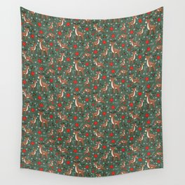Christmas Reindeer and Woodland Friends in Green Wall Tapestry