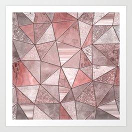 Soft Pink Coral Glamour Gemstone Triangles Art Print