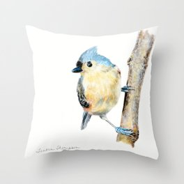 Tufted Titmouse by Teresa Thompson Throw Pillow